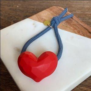 Red heart hair tie